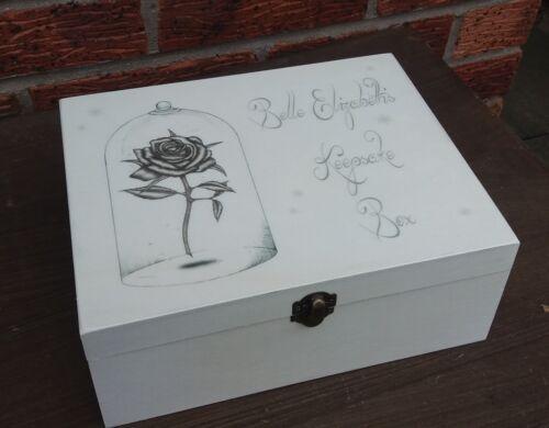 shabby vintage chic beauty /& the beast personalised memory box keepsake