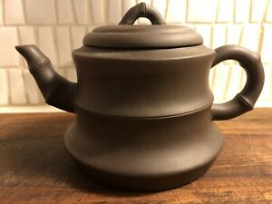 YIXING-ZISHA-TEAPOT-BAMBOO-SHAPE-FORM-CHINESE-RARE-ORIGINAL-ANTIQUE-OLD-USED