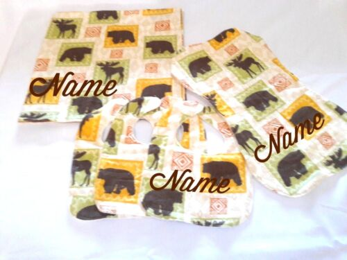5 PC Baby Gift Set Personalized Rustic-Receiving Blanket Burp Cloth /& 3 Bibs