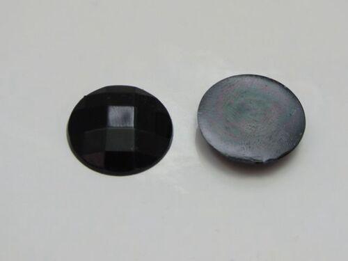 100 Black Acrylic Flatback Faceted Round Rhinestone Gems 16mm No Hole
