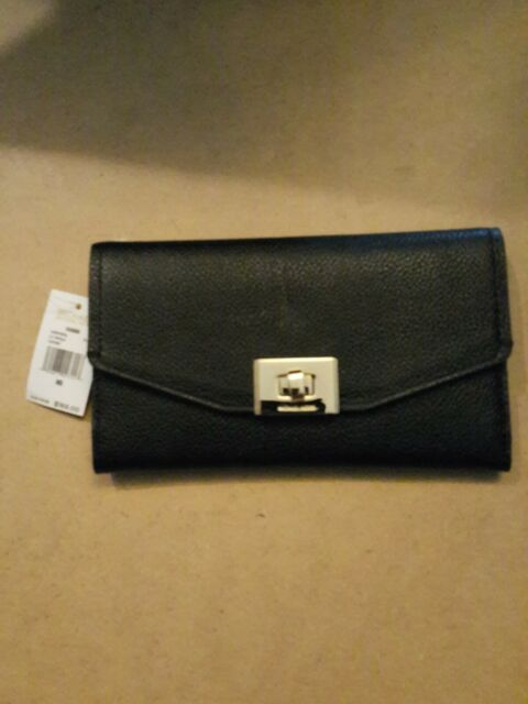 NWT MICHAEL KORS PEBBLED LEATHER CASSIE LARGE TRIFOLD WALLET IN BLACK