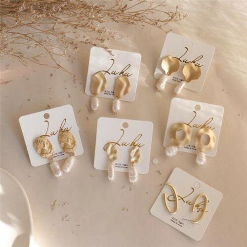 Women Fashion Pearl Earrings Metal Gold Geometric Irregular Drop Dangle Jewelry
