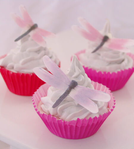 Dragonfly Cupcake Topper Edible 20pc Rainbow Rice Paper Birthday Christening