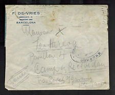 1940s France Concentration Internment Camp de Recebedou Reused Cover Spain to RC