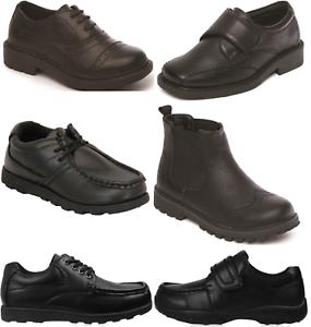 Boys Black School Shoes PU Leather Hook