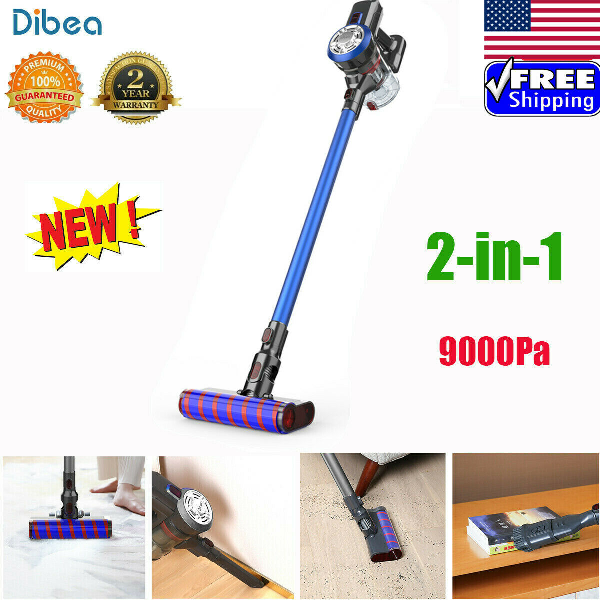 Dibea V008 2-in-1 Cordless Handheld Carpet Floor Vacuum Cleaner 9Kpa Suction US