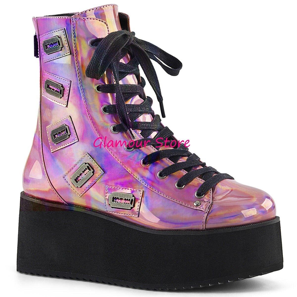 Sexy STIVALETTI ANFIBI DONNA DONNA DONNA tacco zeppa 7 cm rosa stringati zip scarpe rock | Acquisto  aae725
