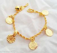 Coin Bell 22K 23K 24K THAI BAHT YELLOW GOLD GP Charm Bracelet 7 inch