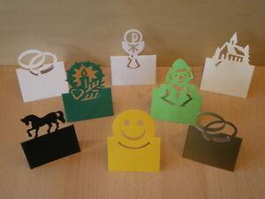 Tischkaertchen-Tischkarten-3-fuer-1-E-Ringe-Pferd-Smilie-Clown-Kerze-Kommunion
