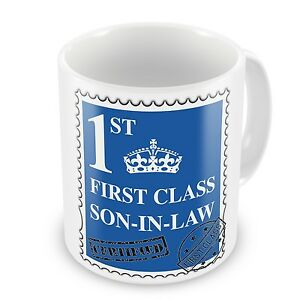 First Class Son-in-law Coffee / Tea Gift Mug - Blue - Brand New