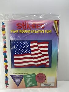 Vtg American Flag 4th of July Stik-EES Holiday Patriotic Window Decor Clings NOS
