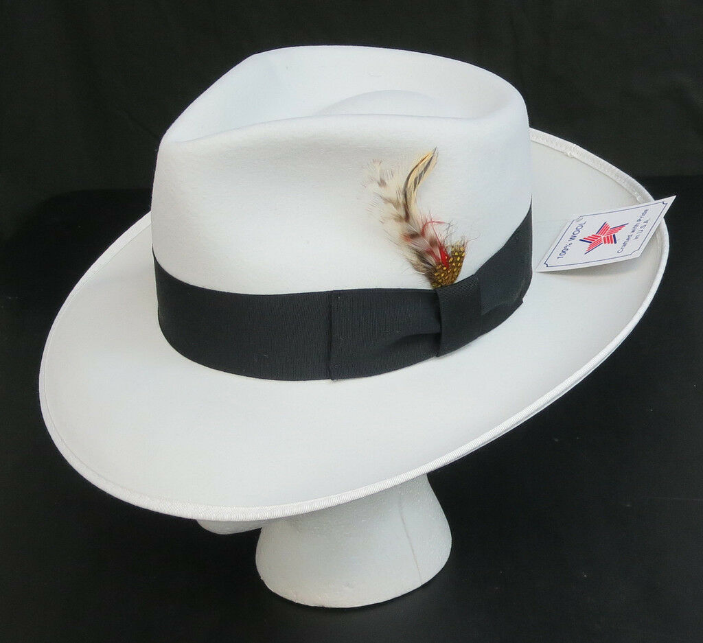 ababda3622e10 New White Fedora Zoot Hat w  Black Band Trilby Wide Brim Made in USA Prom  King