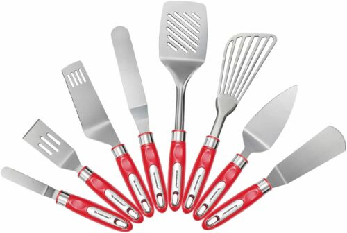 Brownie Slotted,Turner Angled Icing SET OF 8 Metal Spatula Flexible Fish