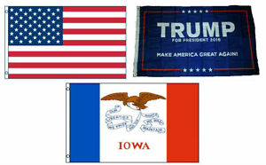 3x5 Trump #1 & USA American & State of Iowa Wholesale Set Flag 3'x5'