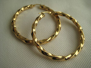 Image Is Loading Gold Hoop Earrings Twisted 9 Carat Yellow 46mm