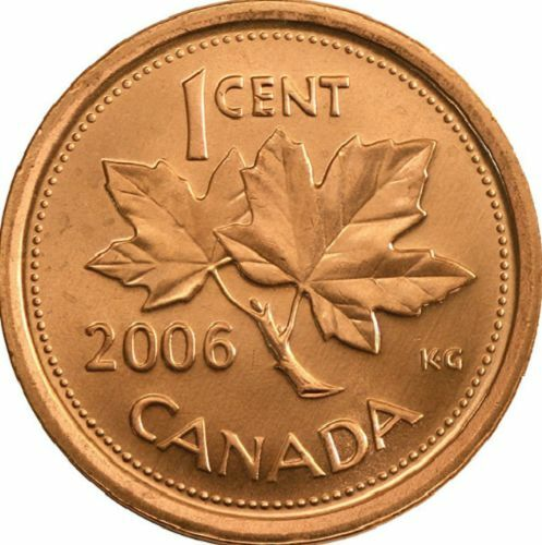 2006 Uncirculated Canadian Penny $0.01 from a MINT ROLL