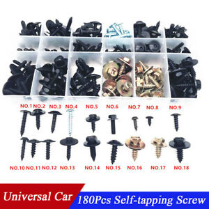 New 180Pcs Mixed Self-Tapping Screw Fastener Clip With Box For Car Fender Bumper