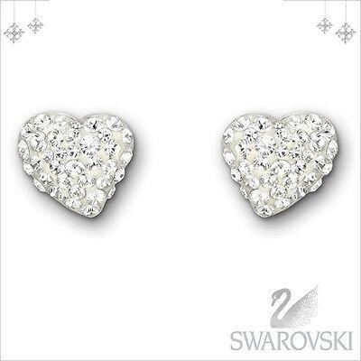 AUTHENTIC SWAN SIGNED SWAROVSKI ALANA HEART CLEAR PIERCED EARRINGS 1121080