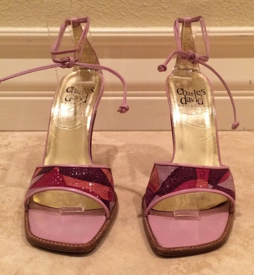 CHARLES DAVID Mid-Century 5.5M Modern Style Strappy Sandal Heels 5.5M Mid-Century ITALY NICE1 8f57d2