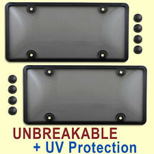 TWO TINTED LICENSE PLATE COVERS + BLACK FRAMES tag holder bracket black 2 bmer