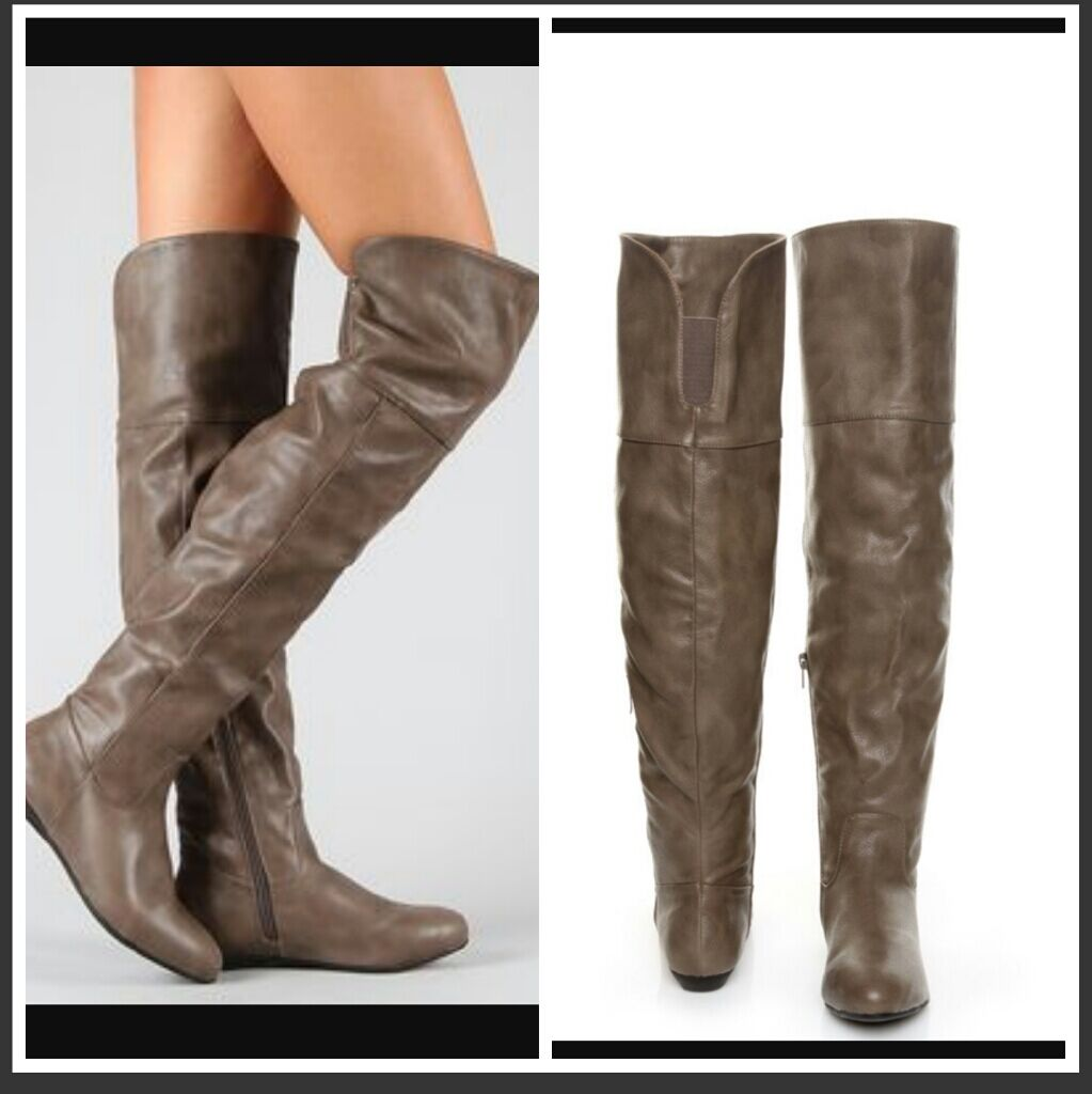 Women Taupe Leather Over the Knee boots