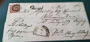 """Bayern dekorativer Charge-Kreuzer-Brief: 6 Kr., Nr. 4II/gMR """"28"""" Augsburg (2.V)"""