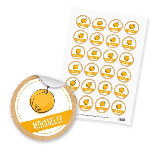 itenga 24x Sticker Aufkleber Etikett Mirabelle Marmelade Gelee Früchte Küche