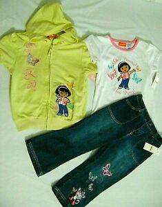 NICKELODEON DORA THE EXPLORER Girls Sweatshirt Hoodie Top Jacket *Size:3T 4T