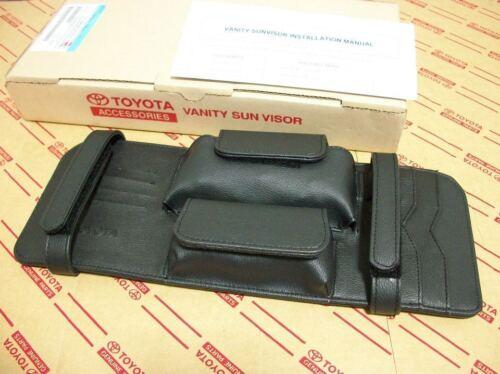 BLACK LEATHER VANITY SUN VISOR TOYOTA HILUX VIGO CHAMP 2005-2013 GENUINE PARTS