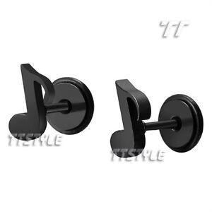 TT Black Surgical Steel Music Note Fake Ear Plug Earrings A Pair (BE103D)