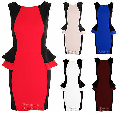 Ladies Contrast Black Side Double Peplum Short Women's Frill Dress 8, 10, 12, 14