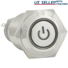 16mm 12v Momentary Push Button Power Switch Stainless Steel White Led Waterproof