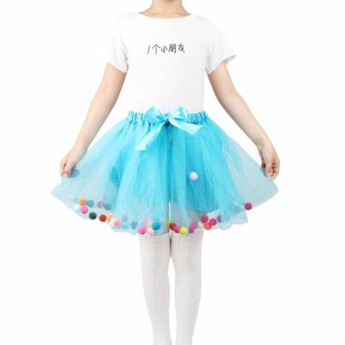 Princess Girls Halloween Birthday Tutu Skirts Three Layers Cute Rainbow Pompom