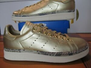 Details about RARE Womens Adidas Stan Smith New Bold W Gold LEATHER  Snakeskin Trim 7 F34120