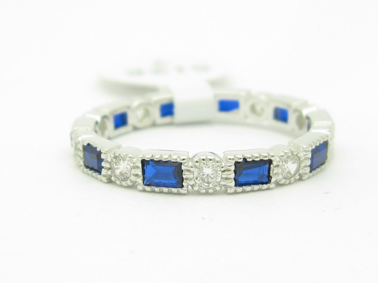 Platino argentoo argentoo argentoo Blu & Bianco Zaffiro Sottile 695241