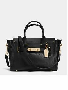 COACH-Swagger-27-in-Pebble-Leather-Carryall-Light-Gold-Black-NWOT-MSRP-450