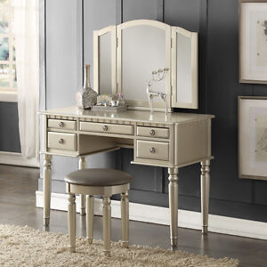 Attractive Image Is Loading Tri Folding Mirror Vanity Set Makeup Table Dresser