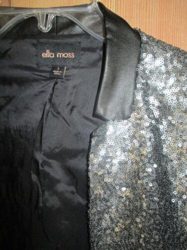 Cuir S Paillettes Moss Col Ella Sequin Argent Et Veste Blazer 228 À Taille En Nwt wFgHP