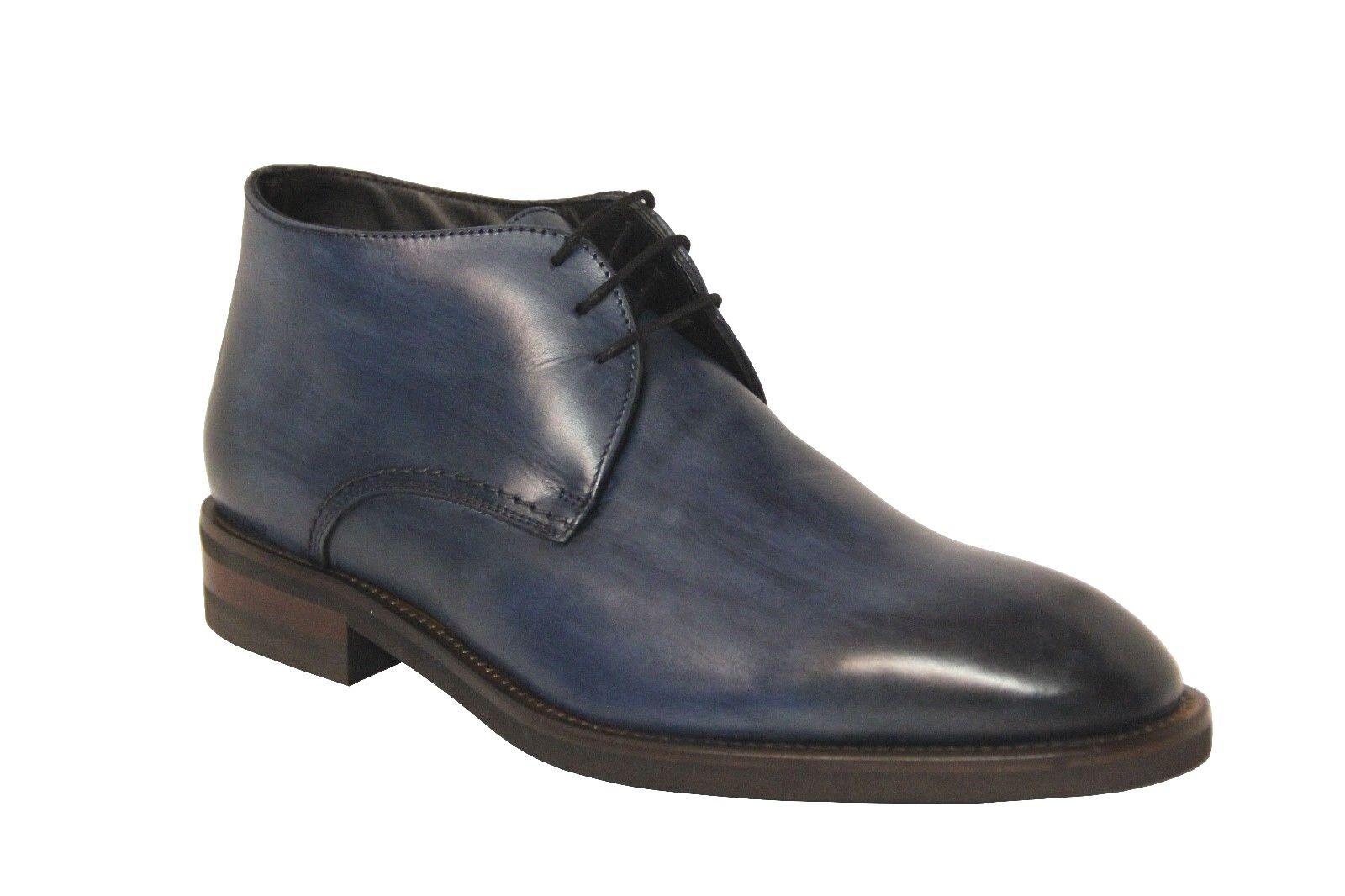 Calzoleria Toscana Men's blu Leather Calfskin Chukka stivali Z988