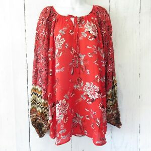 New-Umgee-Top-XL-X-Large-Red-Floral-Mixed-Print-Boho-Peasant-Puff-Sleeve