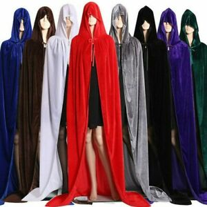 Adult-Kids-Long-Hooded-Cape-Cloak-Costume-Witch-Robe-Party-Cosplay-Fancy-Dress