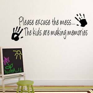 Please excuse the mess kids playroom quotes vinyl sticker - Phrase stickers muraux ...