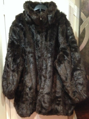 Women/'s X-mas Faux Fur Coat jacket Outerwear Winter Washable plus fits 3X 4X 5X