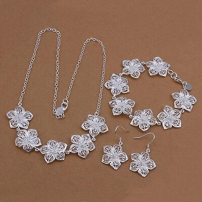 new silver Fashion women lady Flower Earring Necklace Bracelet Set jewelry S450