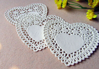 100 Pcs 4 Inch White Heart-shaped Hollow Lace Paper Pad Cakes Pad Of Paper