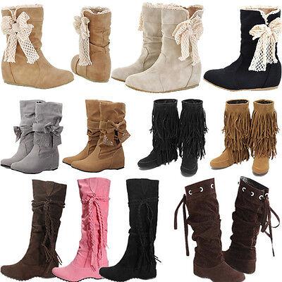 Nuevo Botas Mujer Invierno Botines Nieve Rodilla Caliente Zapatos Planos Boots