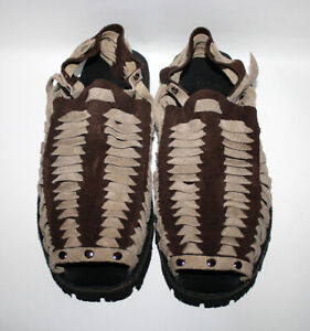 45c4ae8c925aa Details about TREADS 1970s Retro Style Men's Sandals Hand Made Dark & Light  Brown Leather