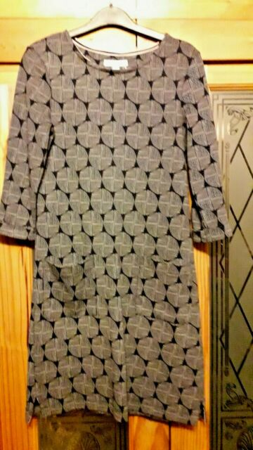 8 WHITE STUFF DRESS BLUE GREY SOFT SWEATSHIRT STYLE WITH POCKETS GR8 WITH TIGHTS