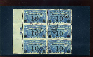 Canal Zone Scott #J24 Postage Due USED Plate Block of 6 Stamps (Stock #CZJ24-1)