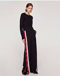 d932ae62 ZARA SS18 NEW PYJAMA-STYLE TROUSERS WITH SIDE STRIPES AND POPPINGS ...